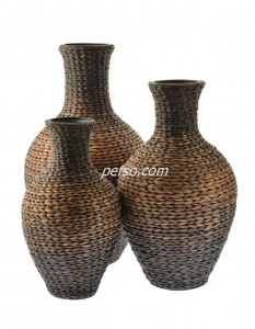 663303 Set of 3 Water Hyacinth Flower Vases