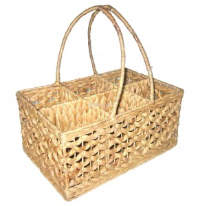 661118 Water Hyacinth Wine Bottle Basket