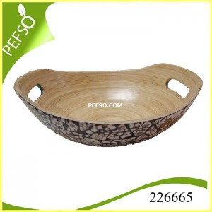 226665 Bamboo Salad Bowl with Eggshell Inlaid