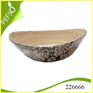 226666 Bamboo Salad Bowl with Eggshell Inlaid