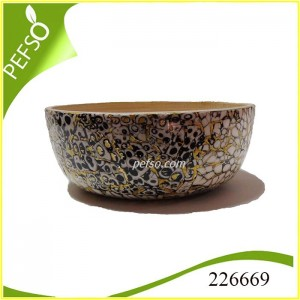 226669 Bamboo Salad Bowl with Eggshell Inlaid
