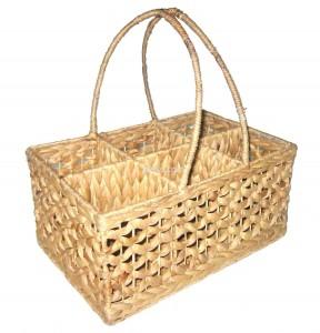 661118 Water Hyacinth Wine Bottle Basket