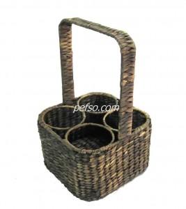 661119 Water Hyacinth Wine Bottle Basket