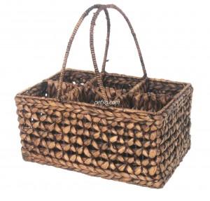 661120 Water Hyacinth Wine Bottle Basket