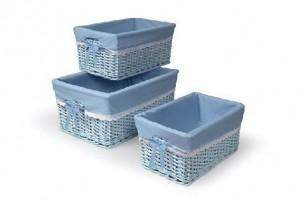 114410 Set of 3 Rattan Laundry Baskets